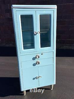 Vintage Robin Egg Blue 60 Tall Doctors Medical Metal Cabinet Great look -Nice