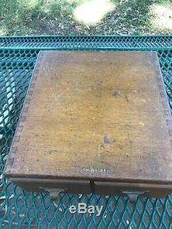 Vintage Shaw Walker Library Card Catalog Index 2 Drawer Oak File Cabinet