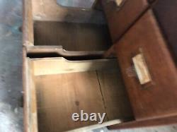 Vintage Shaw Walker Library Card Catalog Index 6 Drawer Oak File Cabinet