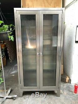 Vintage Stainless Steel & Glass Medical Industrial Apothecary Cabinet