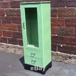 Vintage Steelux Green Doctors Medical Cabinet 1 Door 2 Drawers Very Good