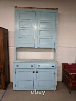 Vintage Step-back Kitchen Cabinet-Solid Wood Beautiful blue color