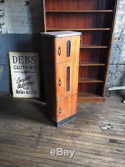 Vintage Sterilizer Barber Shop Beauty Parlor Tattoo Apothecary Wood Cabinet