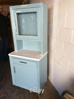 Vintage United Metal Fab Co Blue Medical 65 Cabinet 1 Drawer / 2 Doors Good