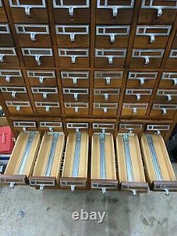 Vintage Walnut Library Card Catalog Cabinet