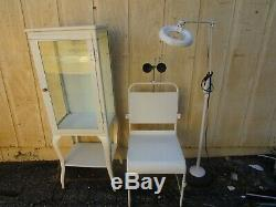 Vintage White Enamel Medical / Dental Cabinet Chair Light Magnifier Lot