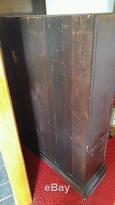 Vintage Wood Bookcase China Press Cabinet Quartersawn Oak Early 1900 late 1800