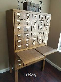 Vintage Wooden 45 Drawer Card Catalog Library Filing Cabinet Index Drawer