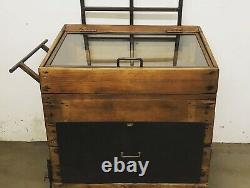 Vintage Wooden Display Cabinet with Large Drawer on Castors