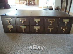 Vintage Wooden Library/Index/Card Catalog 10 drawer