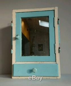 Vintage Wooden Medical Bathroom Cabinet retro cupboard white mirror blue chippy