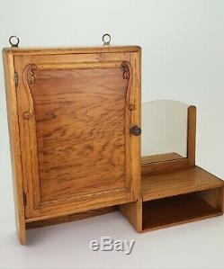 Vintage Wooden Oak Vanity Apothecary Medicine Bathroom Mirror Cabinet E/0286
