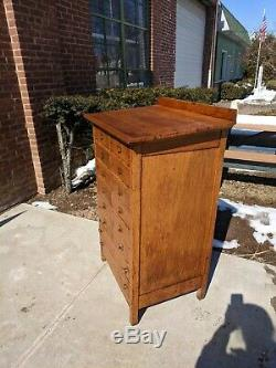 Vintage Wooden Slant Top Printers Cabinet 14 Drawer Buffet Hostess Check in