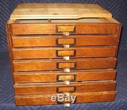Vintage Yawman U0026 Erbe Tiger Oak Seven Drawer Stacking Flat File Cabinet  Section