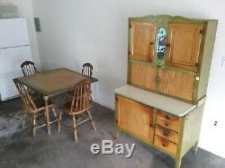 Vintage green stenciled drop leaf farm table & chairs with hoosier cabinet 1930