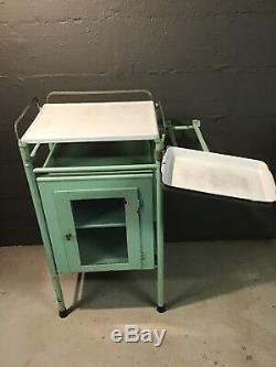 Vintage steel medical dental surgical instrument cabinet Porcelain Enamel Top