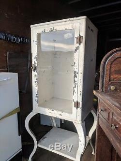 Vintage steel medical dental surgical instrument cabinet, glass shelves
