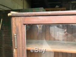 Vintage wall mount cabinet 4 old wavy glass doors PINE bead board 94 x 67 x 13