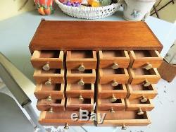 Vintage watchmakers cabinet specimen collectors drawers jewelry box tool chest