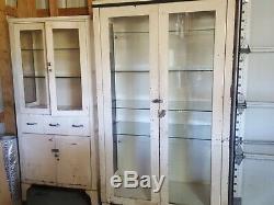 Vintage white medical cabinets