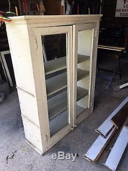 Vintage Wood Kitchen Cabinet Cupboard Shelf Glass Doors ...