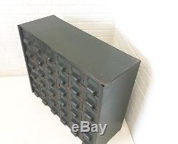 Vtg 36 Dr Hobart Cabinet Steel Card Catalog Industrial Metal Part Office Storage