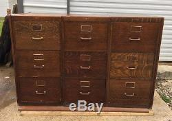 Vtg Antique Oak Legal File Cabinet Yawman Erbe Quartersawn Office Storage Wood