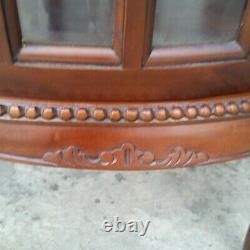 Vtg Mahogany & Beveled Glass Table Curio China Display Liquor Cabinet LA Area