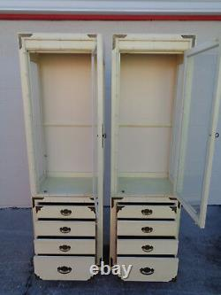 Vtg Pair Thomasville Huntley Lighted Faux Bamboo Display Cabinets Campaign Brass