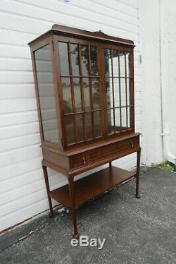 Walnut Queen Anne Legs China Display Cabinet Cupboard 1231A