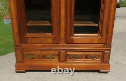 Walnut Victorian DisplayChinaLinenBookcase Cabinet