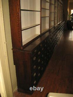 WeShip! 30 Ft Oak Pharmacy Apothecary Cabinet Display 133Drwr 1890-1900 Original