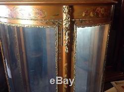 Wonderful Gold And Flower Painted Gilt Vernis Martin Style French Curio Cabinet